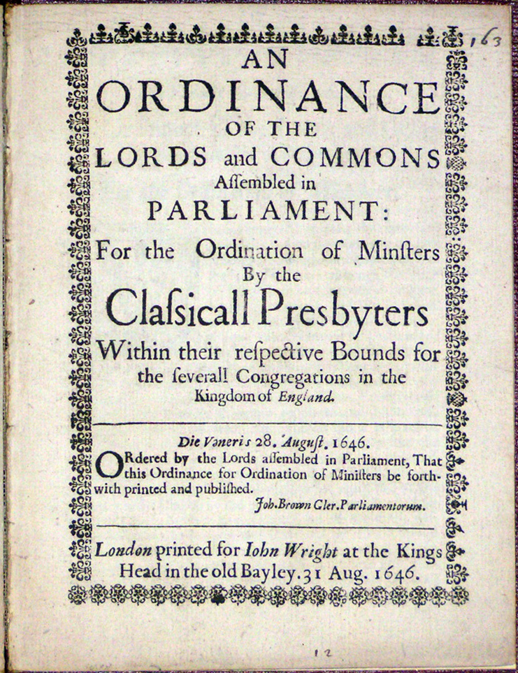 Image for Ordinance of the Lords and Commons Assembled in Parliament: For the