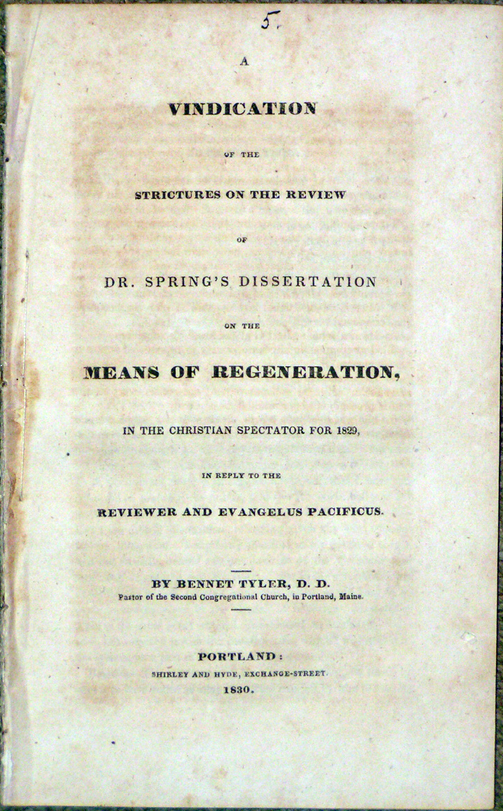 Image for Vindication of the Strictures on the Review of Dr. Spring's Disserta