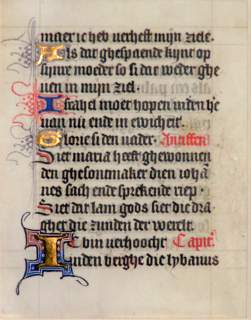 Image for A leaf from a medieval manuscript, Book of Hours, Use of Flanders, circa 1400, in Dutch.