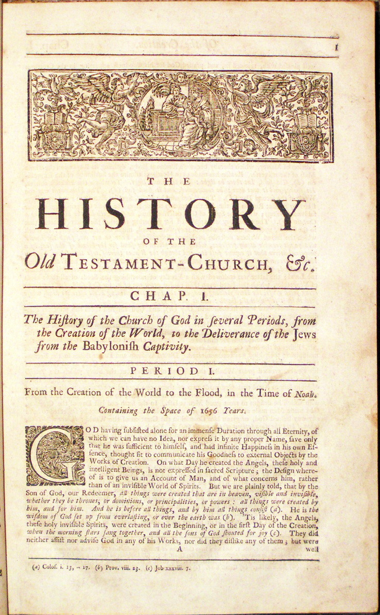 Image for History of the Church Under the Old Testament, From the Creation of the World: Wherein Also The Affairs and Learning of Heathen Nations before the Birth of Christ, and the State of the Jews from the Babylonish Captivity to the present Time are particularly considered.  To which is subjoined, A Discourse to promote the Conversion of the Jews to Christianity.  By Mr. Robert Millar Minister of the Gospel in Paisley.
