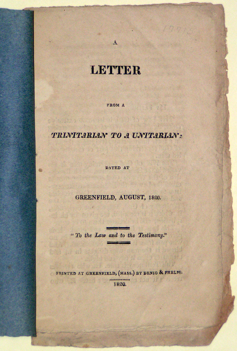 Image for A Letter from a Trinitarian to a Unitarian, Dated at Greenfield, August, 1820