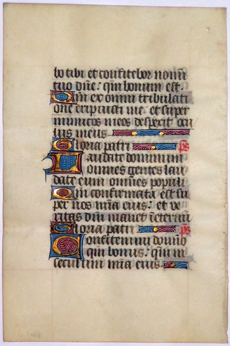 Image for A leaf from a medieval manuscript Book of Hours, France, unknown use, in Latin, unknown use, in Latin, on vellum.