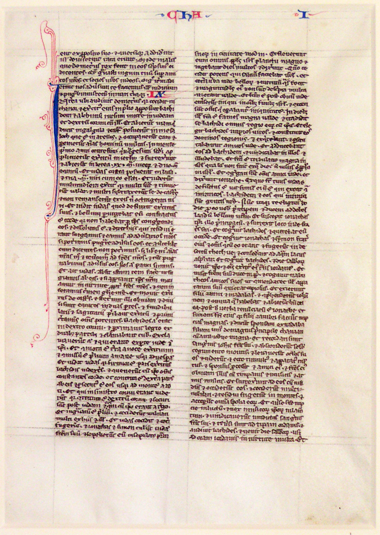 A leaf from a medieval manuscript Bible.  Paris, France, mid 13th century, in Latin on the finest of vellum (197 x 134mm).