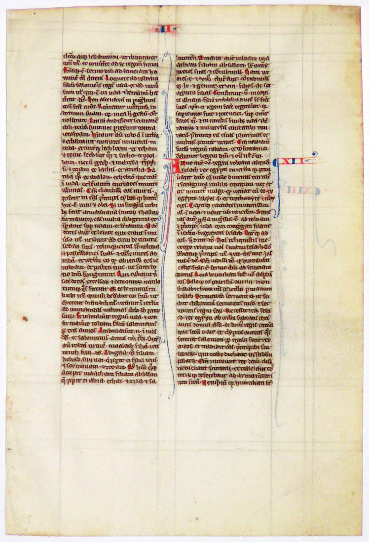 Image for A leaf from a medieval manuscript Bible.  Paris, France, circa 1250-1275, in Latin on vellum