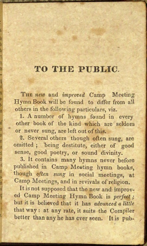 "Image for ""The New and Improved Camp Meeting Hymn Book: Being a Choice Selection of Hymns from the Most Approved Authors.  Designed to Aid in the Public and Private Devotion of Christians.  By Orange Scott, Minister of the Gospel.  """"O, sing praises unto the Lord.""""  Second Edition."""